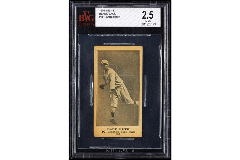 babe ruth rookie baseball card goodwin auction major league boston red sox
