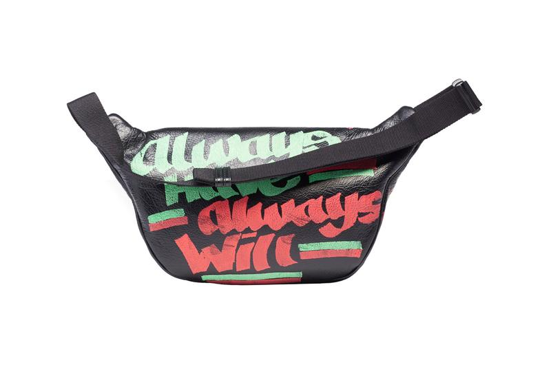balenciaga spring summer 2019 car tag printed explorer beltpack graffiti design black multicolor leather release