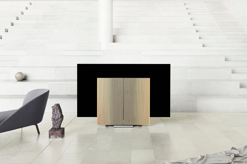 "Bang and Olufsen Beovision Harmony LG OLED C9 77"" TV Folding Television Design Entertainment Milan Design Week 2019 home décor oak wood aluminium front combined Grey Melange two-tone fabric aluminium"