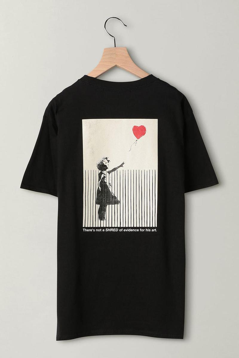 Banksy for BEAUTY & YOUTH UNITED Girl with balloon shredded tee shirt collaboration exclusive black white print graphic