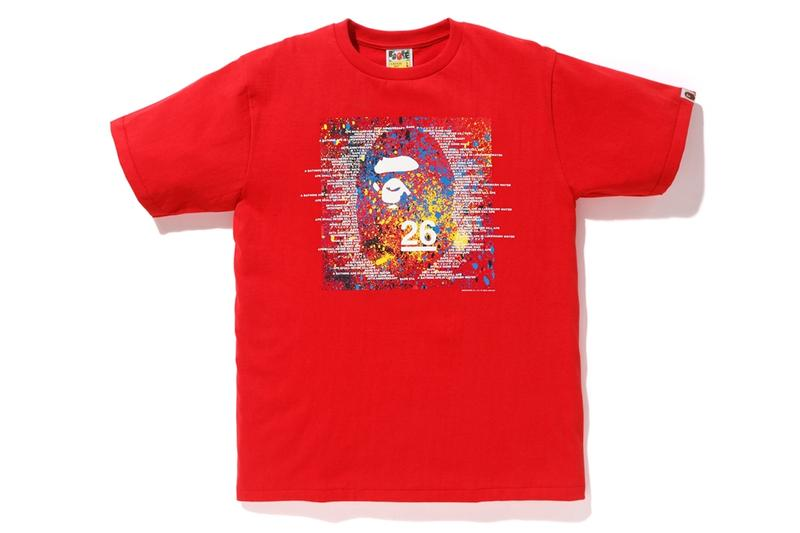 bape a bathing ape 26 26th anniversary birthday collection line tee t shirt graphic hoodie pullover where to buy spring 21019 black red white blue yellow colors colorway color