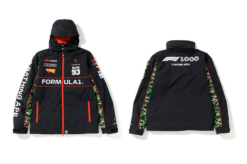 Formula 1 x BAPE Collaboration Release spring summer 2019 a bathing ape 1st camo ape head jackets racing shanghai hoodies t shirts towels hats stickers