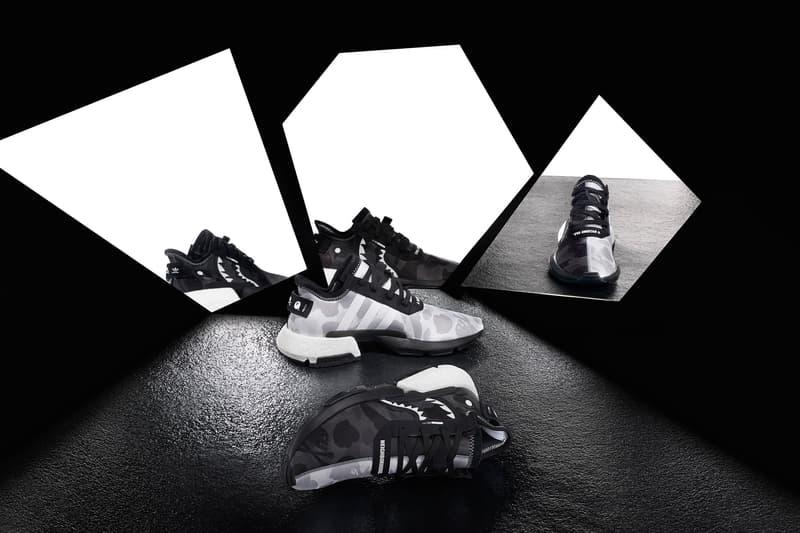 BAPE x NEIGHBORHOOD x adidas Originals NHBAPE POD S-3.1 & NMD STLT Wider Release a bathing ape black and white three stripes ape head info