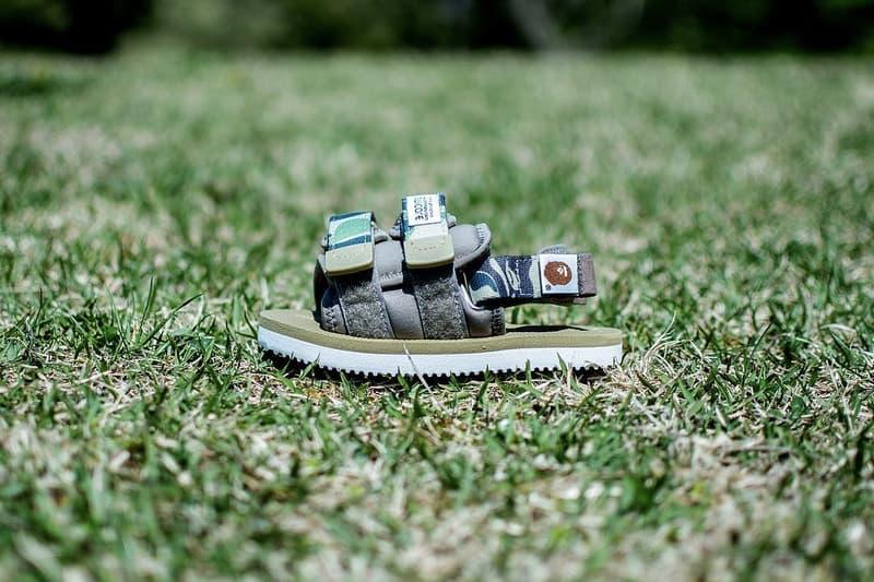 "SUICOKE x BAPE Spring/Summer 2019 Collection sandals slides ""DAO"" ""MOTO-2"" 1st camo green abc camo green blue"