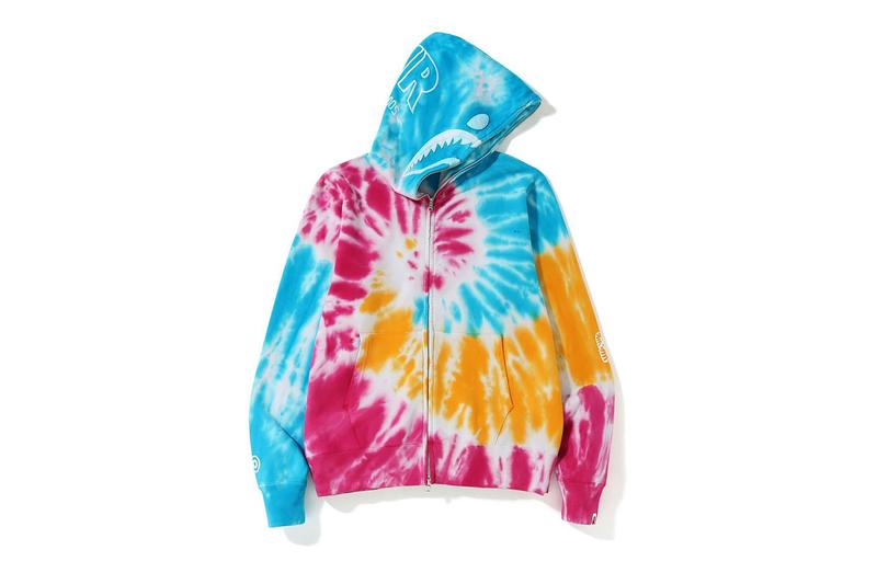 BAPE Tie-Dyed Shark Wide Full Zip Hoodies SS19 up zipper spring summer 2019 collection colorways release date info april 27 2019 black ranbow blue