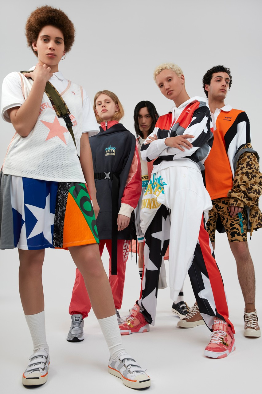 Converse x Koché Feng Chen Wang Faith Connexion Collaboration Footwear Apparel Browns Pop Up Locations Womenswear Capsule Chuck Taylor ERX Jack Purcell Mary Rina One Star Run Star