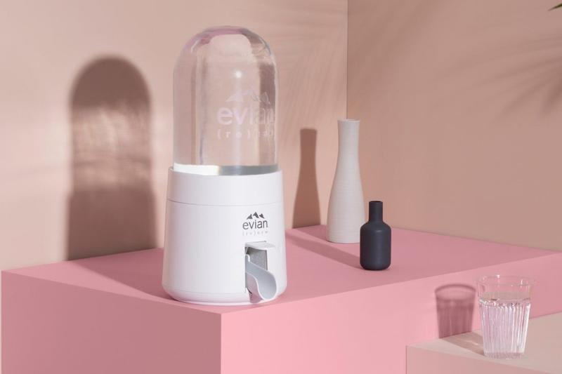 Virgil Abloh Evian Renew Dispenser In Action Watch How it works explainer disposable recyclable plastic sustainability release information pilot project
