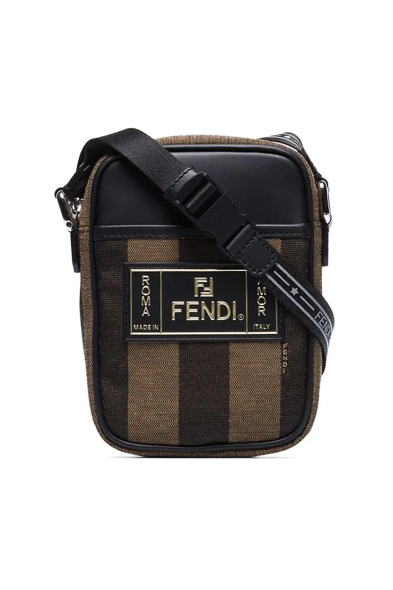 fendi brown piqued striped messenger bag