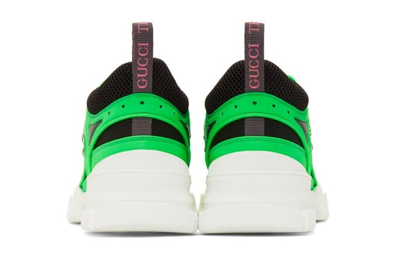 Gucci Neon Green Flashtrek Sneakers footwear kicks shoes Italian Footwear boots hiking shoes GG Gucci Fashion