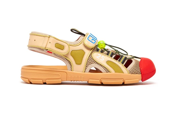 c11b3a459 Gucci Drops Off-Kilter Leather   Mesh Sandals for SS19 Season