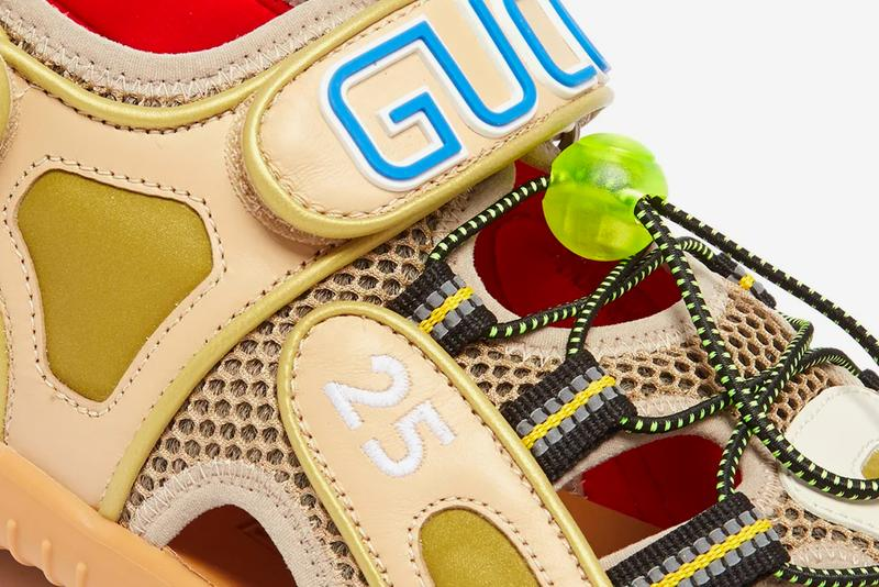 Gucci Leather and Mesh Sandals Release Info Alessandro Michele neoprene rubber drop date price buy now made in italy Beige and white leather, grey mesh, reflective green-shell panels