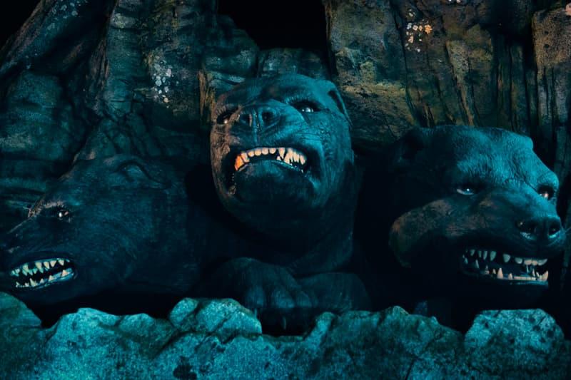 Harry Potter's Fluffy In Hagrid's Magical Creatures Ride Universal Orlando Resort three-headed dog 3 head j.k. rowling wingardium leviosa