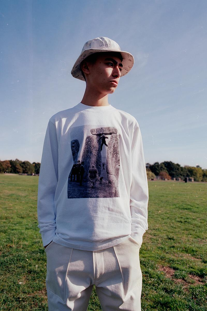 Heresy Spring Summer 2019 SS19 Collection Lookbook British Folklore Fashion Menswear Art Exhibitions Music Publication Alec McLeish T Shirts Long Sleeve Hoodie Sweatpants Workwear Shirt Trousers Clean Skating Stone Henge Cerne Abbas