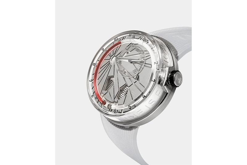 "HYT H0 ""Time Is Precious"" Watch Silver Red sapphire crystal face 30m water resistance mechanical manual-winding movement calibre fragmented monocrystalline dial  Super-Luminova index transparent rubber strap titanium buckle $54000 USD Timepiece"