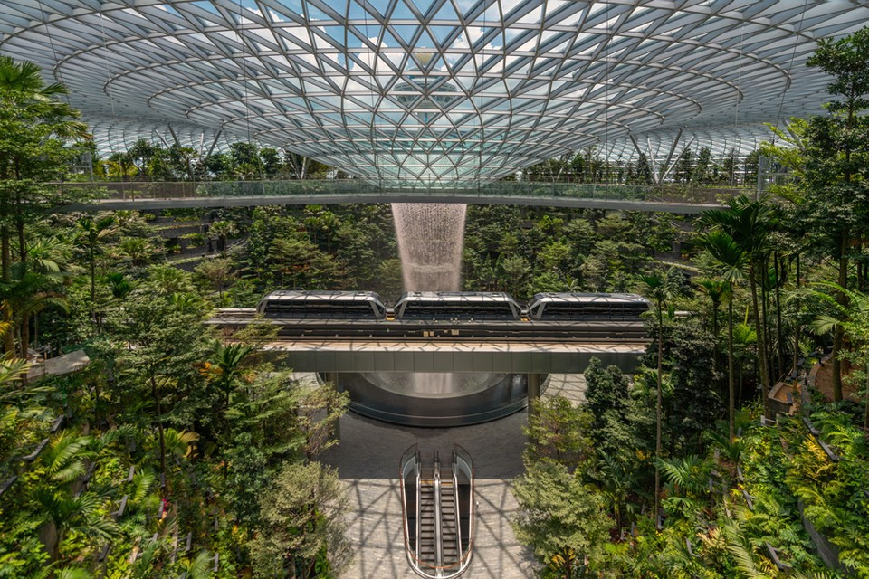 Singapore's Jewel Changi Airport Houses the World's Tallest Indoor Waterfall