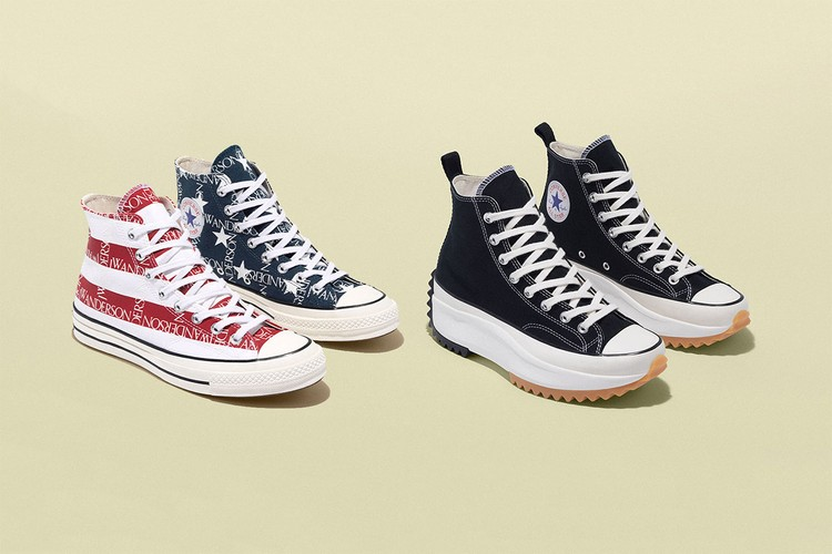 ca05cff9e2f2 JW Anderson and Converse Launch American Flag-Covered Grid and Black Run  Hike Sneakers