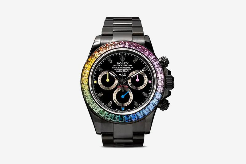 MAD Paris Rolex Sapphire Rainbow Daytona Watch timepiece browns ruby stainless steal drip iced out jewelry accessories buy now release info drop date BROWNS FASHION