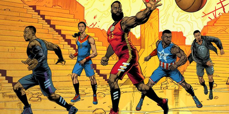"""Marvel x adidas """"Heroes Among Us"""" Sneaker Pack studios basketball collaboration collection april 26 2019 james harden damian lillard candace parker john wall tracy mcgrady iron man black panther captain america nick fury captain marvel"""
