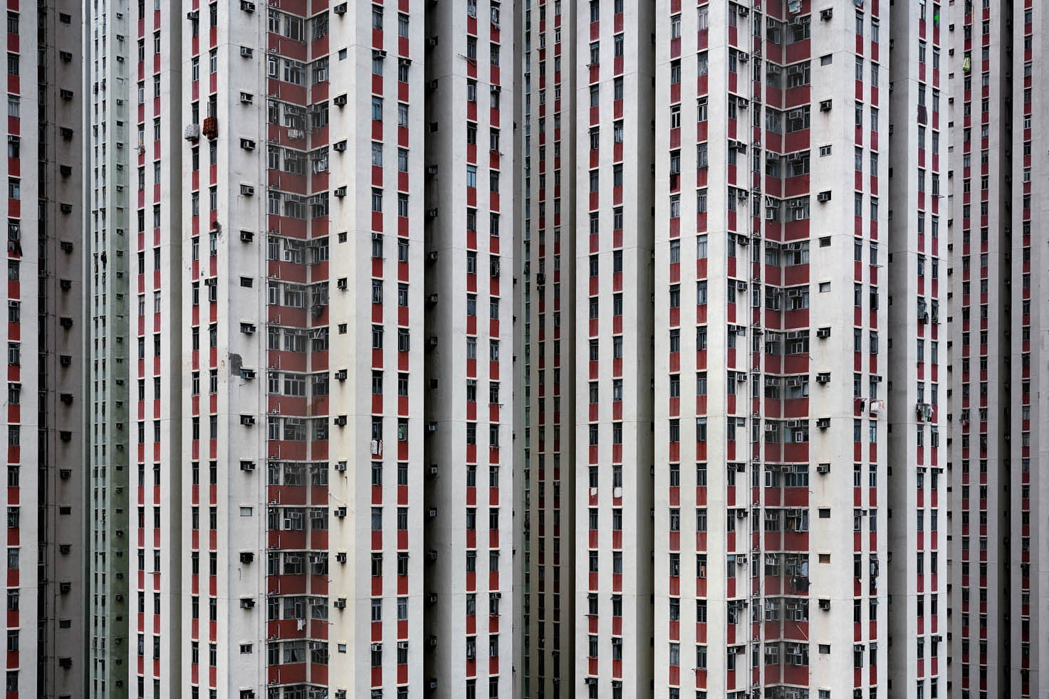 Michael Wolf Hong Kong Architecture Exhibition Buildings Multi color pink walls obituary death