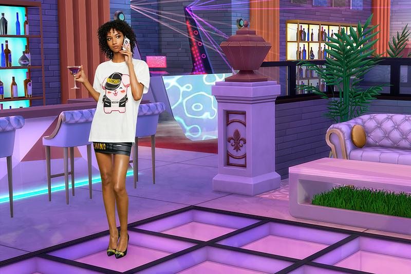Moschino The Sims Collaboration Spring Summer 2019 SS19 Release Capsule Collection Jeremy Scott Palm Springs Desert Party Plumbob bathing suit Freezer Bunny cell phone cover Uni-Lama T-shirt EA Games
