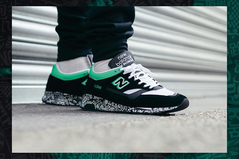 "New Balance Made in England 1500 ""Virgin Money London Marathon"" Sneaker Release Special Limited Edition Information Closer Look Footwear Drops Footpatrol End Clothing Black Green Suede White Mesh Embroidered Premium Branding Text ENCAP Sole"