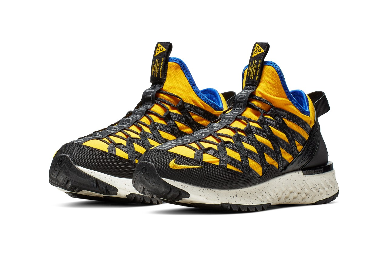 nike acg react terra gobe k2 ldv yellow the abyss blue sneaker release
