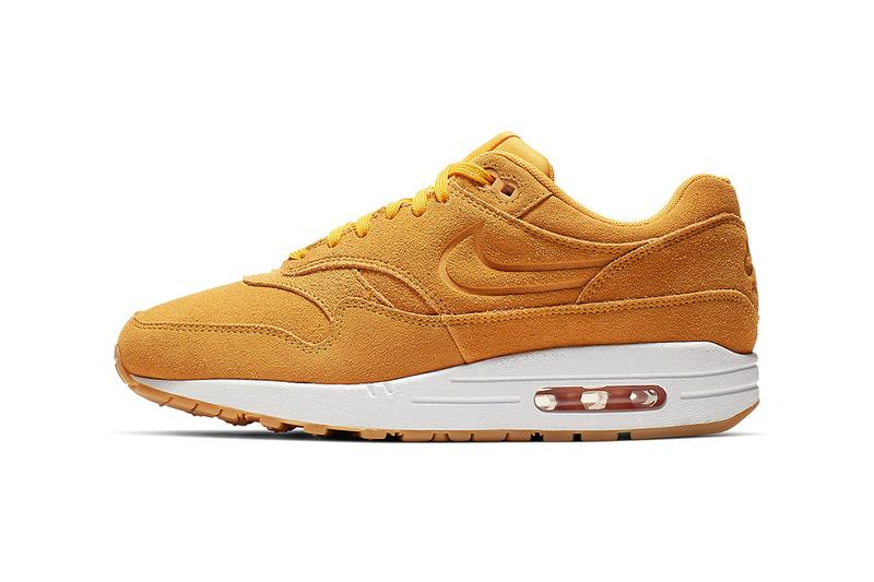 9e218fb109 Nike Air Max 1 Premium Yellow Suede Release debossed swooshes
