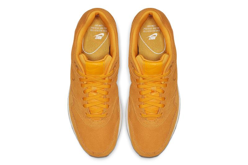 Nike Air Max 1 Premium Yellow Suede Release debossed swooshes