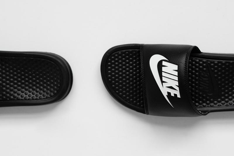 Nike Benassi JDI Slides Summer 2019 Release black white teal jade slippers sandals just do it swimming