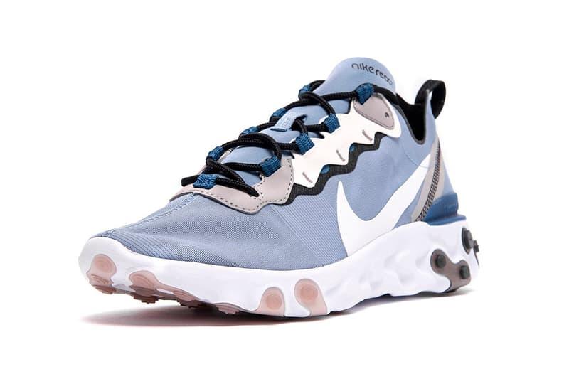 """Nike React Element 55 """"Indigo Fog"""" grey blue black white swoosh element 87"""