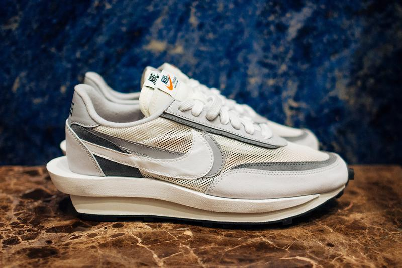 "A First Look at sacai x Nike Blazer & Waffle Daybreak In ""White/Grey"""