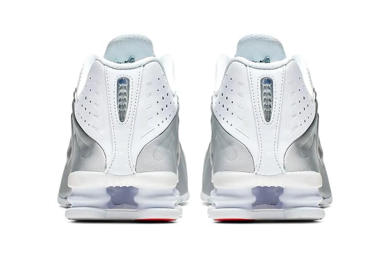 nike shox r4 white metallic silver bright crimson release
