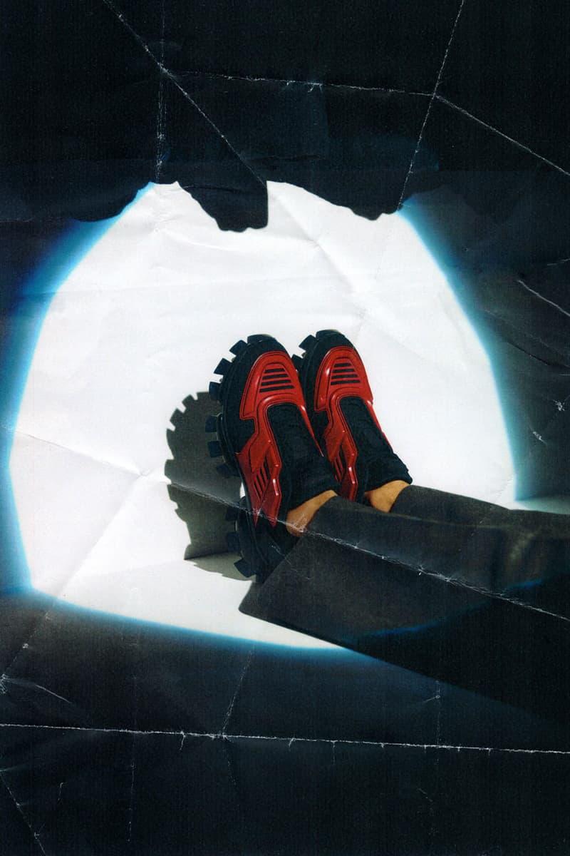d9fa16007a9f Prada Cloudbust Thunder Spring Sumer 2019 Lookbook chunky sneaker  frankenstein red white blue black sneaker