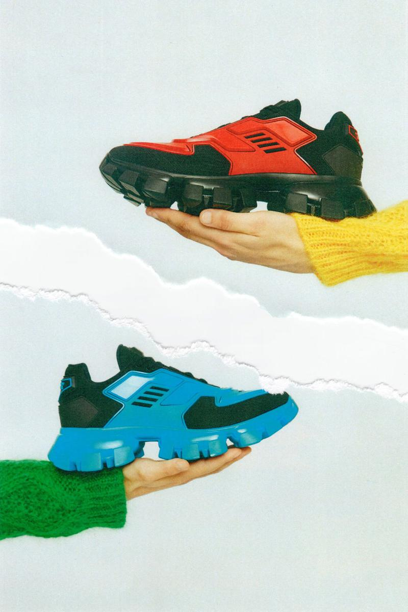 Prada Cloudbust Thunder Spring/Sumer 2019 Lookbook chunky sneaker frankenstein red white blue black sneaker shoe lugged sole