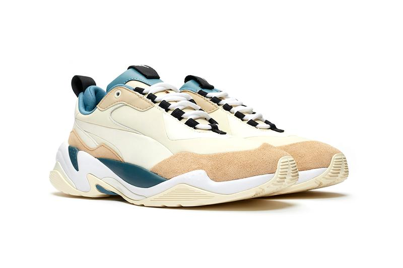 "PUMA Thunder Nature Release Information Buy Cop Now ""Nasturtium/Silver Grey/Whisper White"" ""Pale Khaki/Cloud Cream-Bluestone"" McQueen Inspiration Spectra Desert Chunky Sneakers Shoe Silhouette"