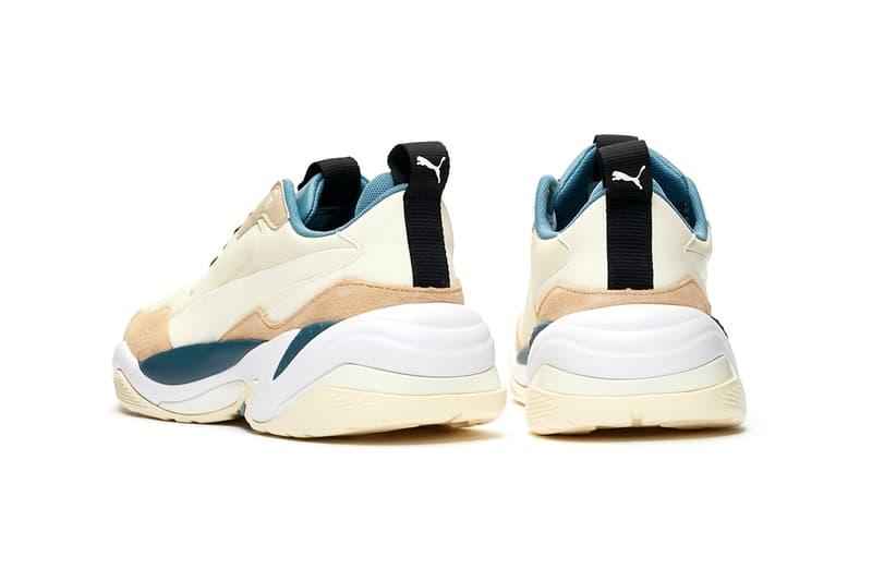 "PUMA Thunder Nature Release Information Buy Cop Now ""Nasturtium/Silver Grey/Whisper White"" ""Pale Khaki/Cloud Cream-Bluestone"" McQueen Inspiration Spectra Desert Chunky Sneakers Shoe Silhouette"