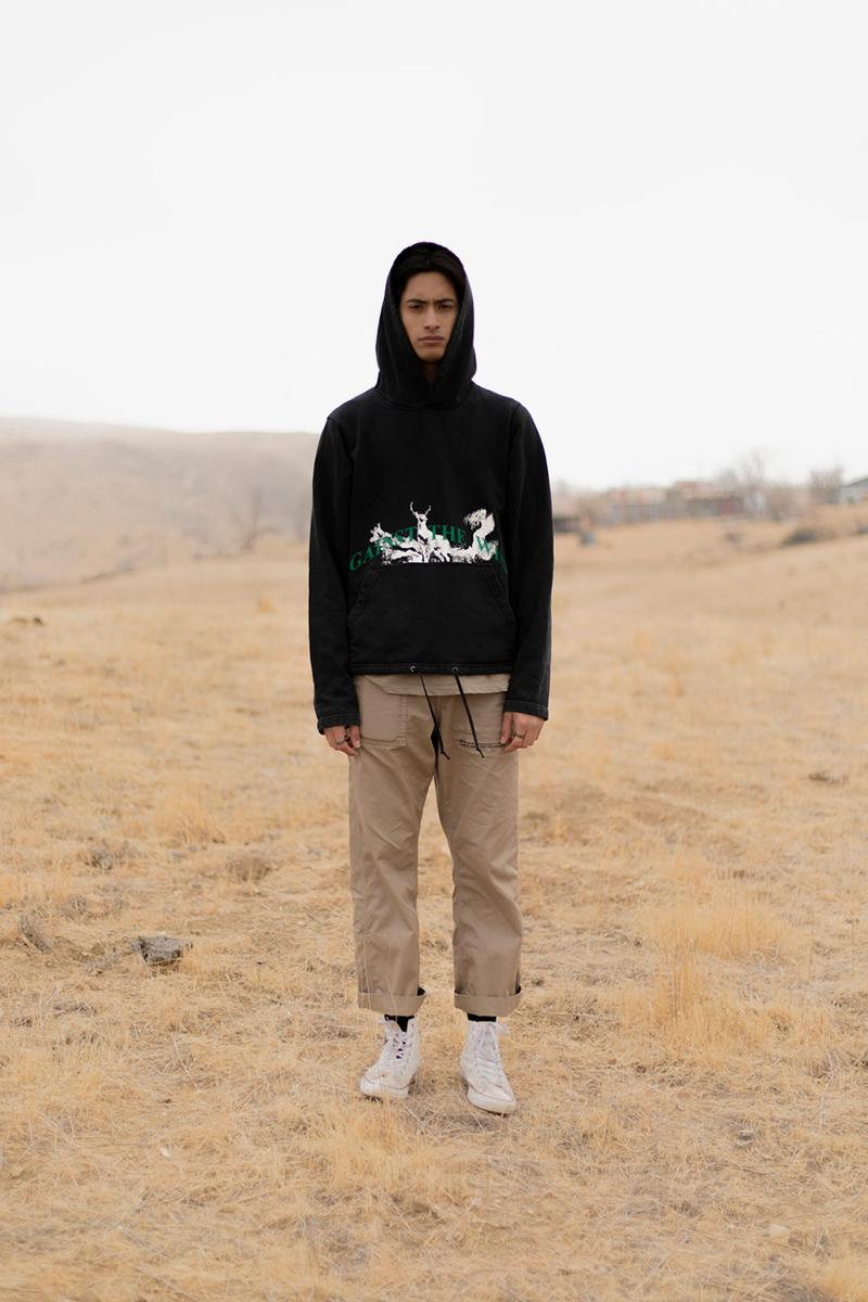 "Reese Cooper Barneys New York Pre Fall 2019 Collection Exclusive Stockist USA ""Against the Wind"" XO Copley Place Madison Avenue Beverly Hills Varsity Jacket Work Shirt Trousers Californian Landscape Artwork T-Shirts Hoodies"