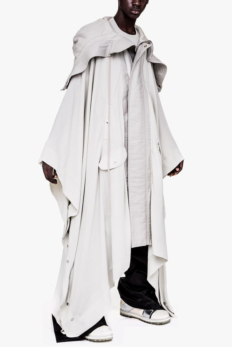 Rick Owens Spring/Summer 2019 ParkaPoncho Coat jacket ss19 babel runway release date info asymmetric deconstructed