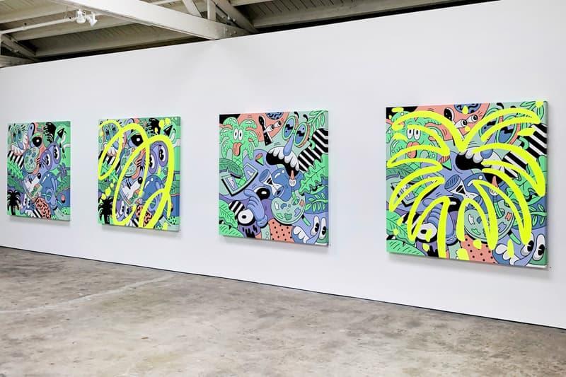 steven harrington magic hour exhibition recap nike air force one cortez blazer paintings artworks sculptures installations