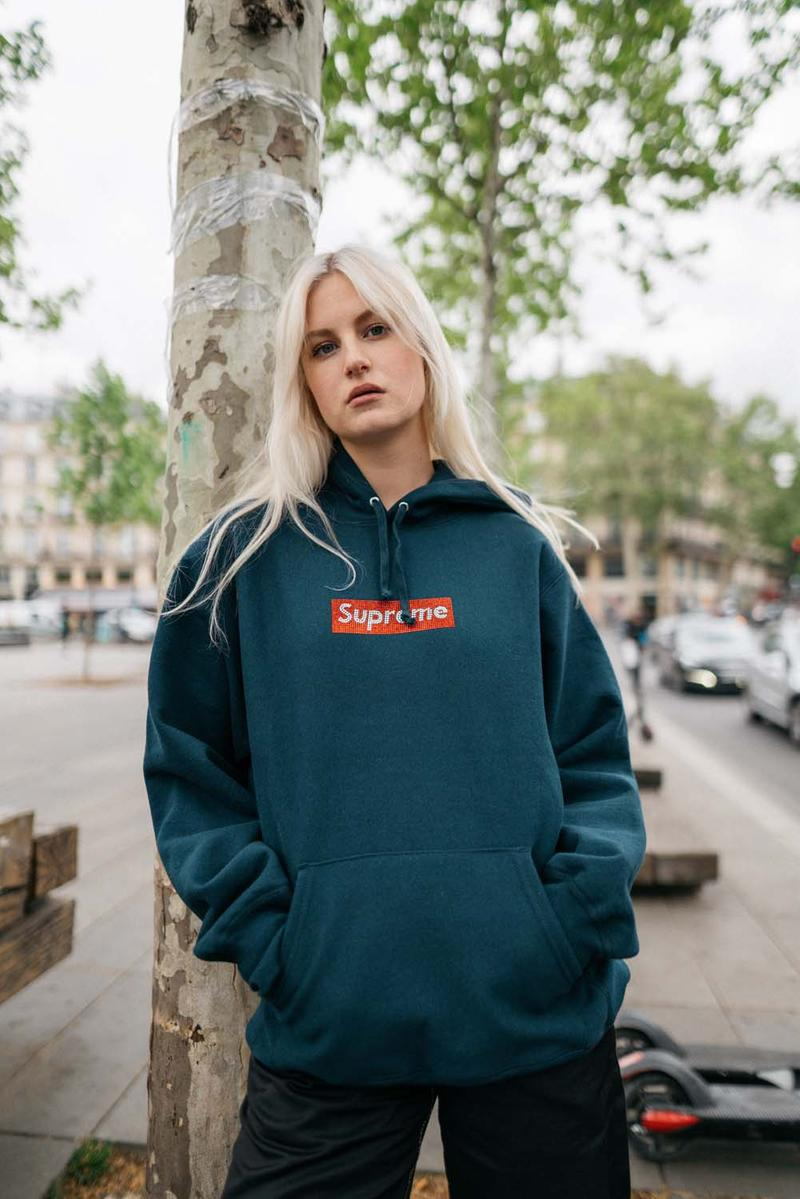 Supreme x Swarovski Box Logo Anniversary Drop collection on body hoodie tee shirt release day april 25 2019 exclusive france paris day model colorway crystal