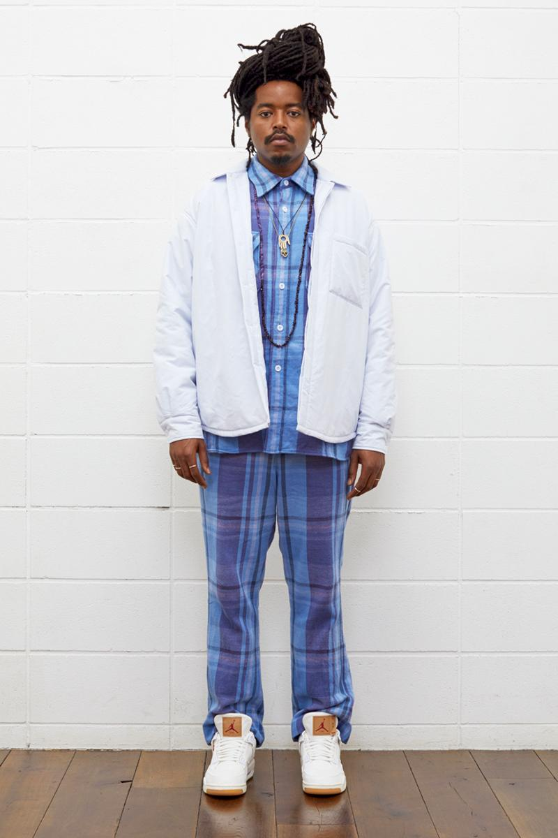 UNUSED Fall Winter 2019 Collection Lookbook japanese label imprint brand A$ap rocky coverchord casualwear menswear womenswear americana shearling varsity knits overcoats flannel shirting trousers pants bottoms shorts cinch