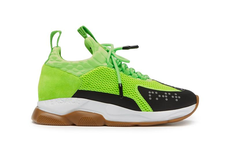 Versace Cross Chainer Sneaker SS19 Spring Summer 2019 Runway Lime Green Chain Reaction Hybrid Mesh Neoprene Suede 3M Brail Greca-jacquard Chunky Sneaker Dad Runner High End Fashion Release Information Drop Date Cop
