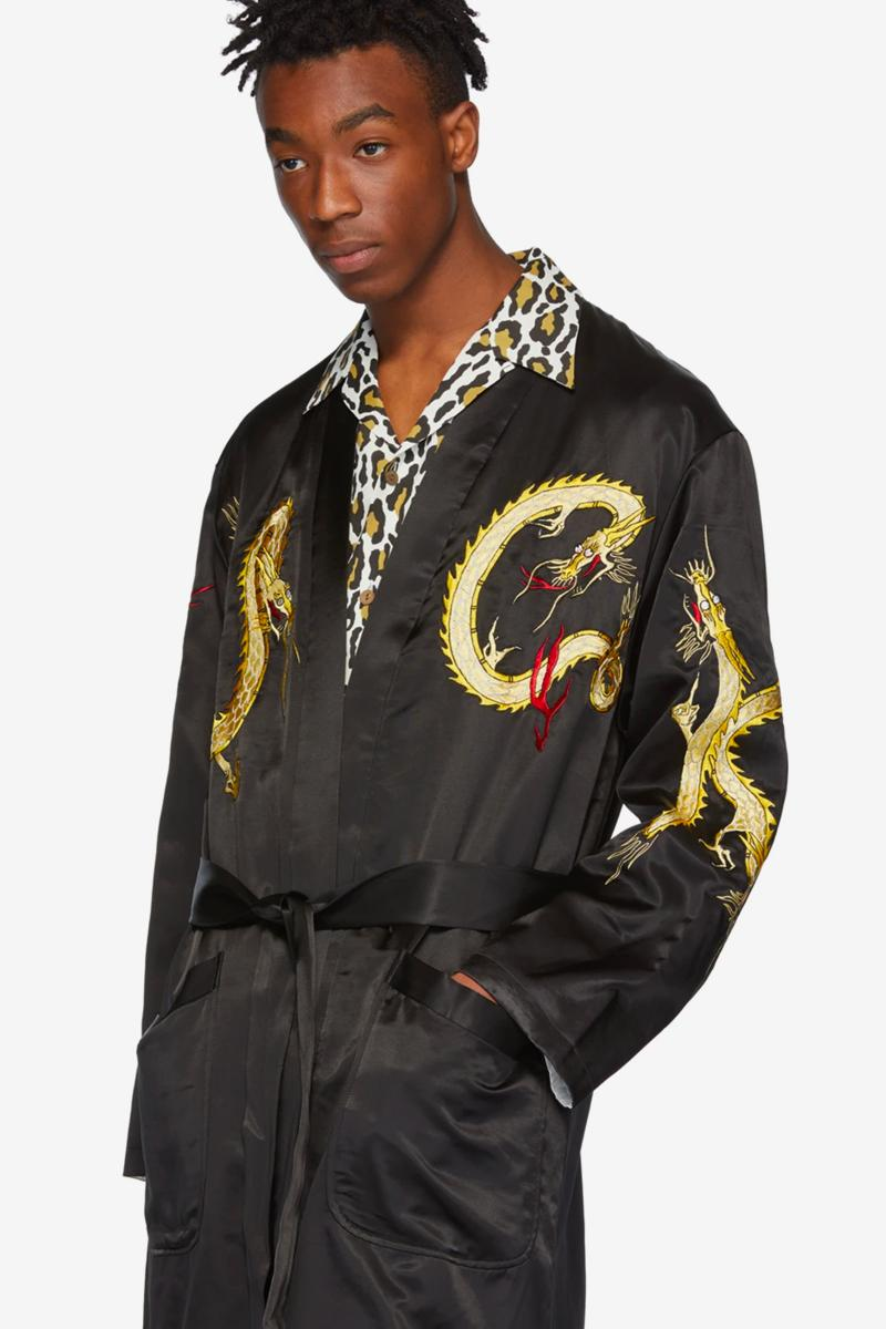 Wacko Maria Reversible Gown Coat Release Dragon Black White