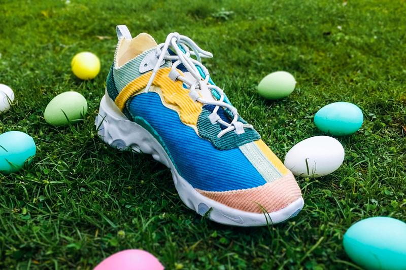 XYLAR Studio Nike React Element 87 Easter Corduroy custom shoe 1 of 1 one-of-a-kind xylar chan Easter holiday eggs