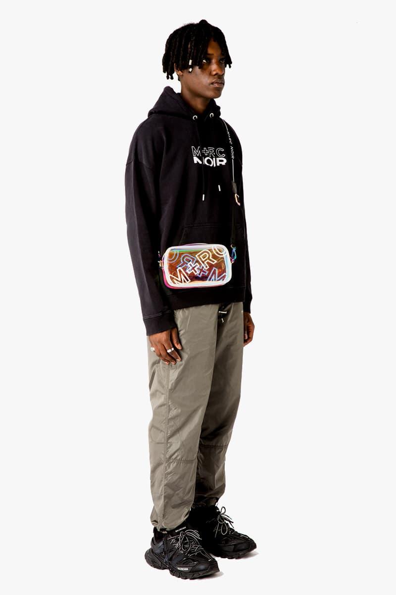 M+RC Noir Spring Summer 2019 SS19 First Drop Capsule Collection Outerwear Jackets Denim Monogram Logo Trousers Track Pants T-Shirt Hooded Sweatshirt Cross Body Bag PVC