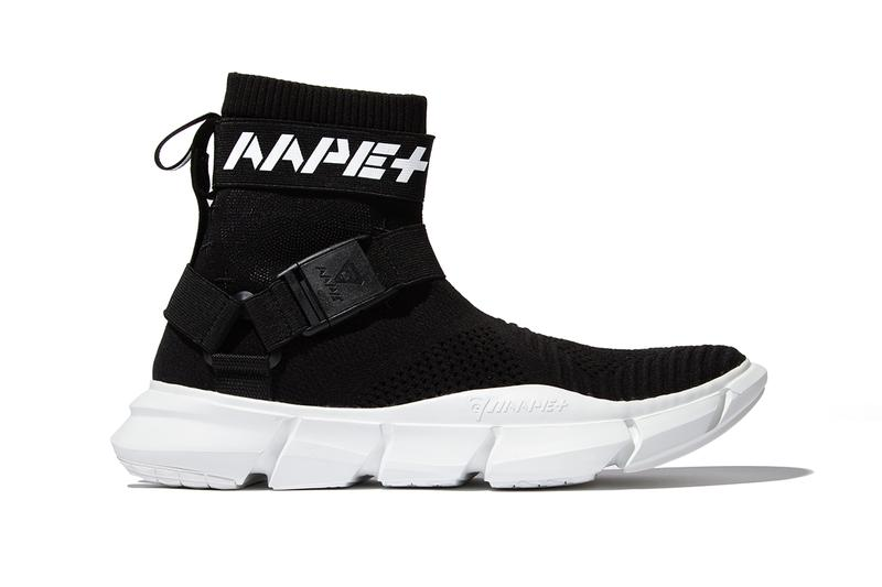 official photos c2b95 17d32 AAPE BY A BATHING APE AAPE+ SS19 FOOTWEAR COLLECTION sneakers sock like ankles  bape black white