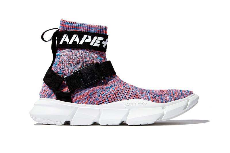 AAPE BY A BATHING APE AAPE+ SS19 FOOTWEAR COLLECTION sneakers sock like ankles bape black white rainbow knit white olive