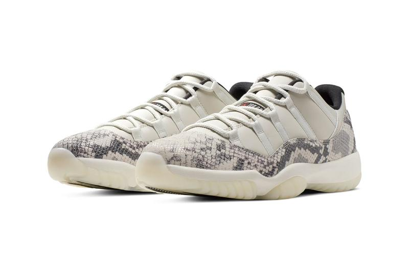 Air Jordan 11 Low Light Bone Snakeskin grey white black cream off tan red jumpman brand sneakers shoes