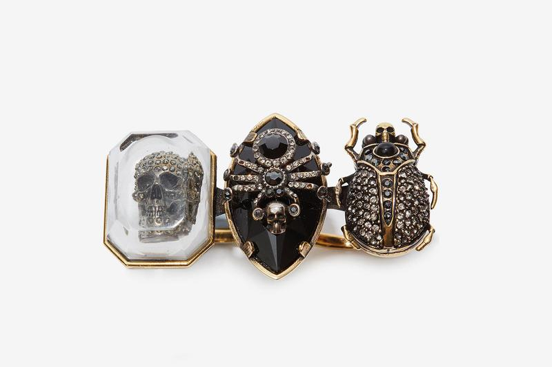 Alexander Mcqueen Jeweled Insect Double Ring Release