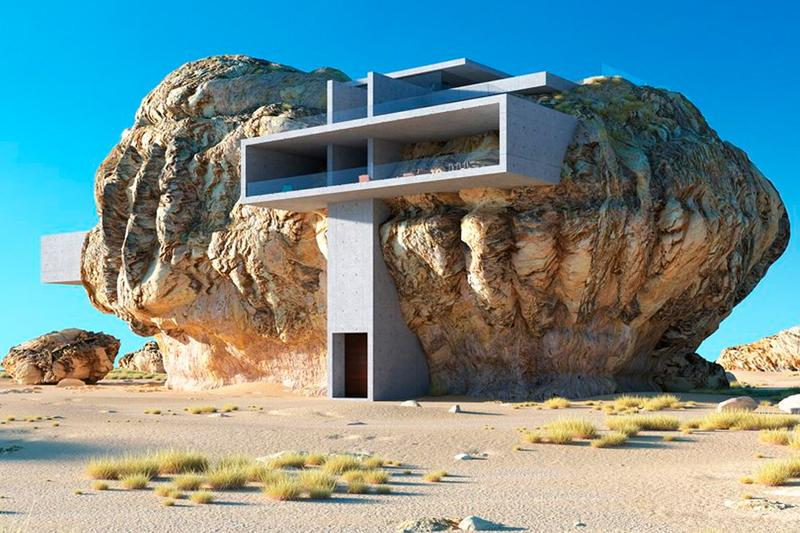 Amey Kandalgaonkar House Inside a Rock Info architecture design house home rock organic minimalism geometry contemporary modern